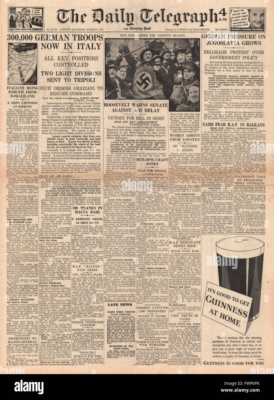 1941 front page Daily Telegraph 300,000 German troops in Italy and German pressure in the Balkans - Stock Image