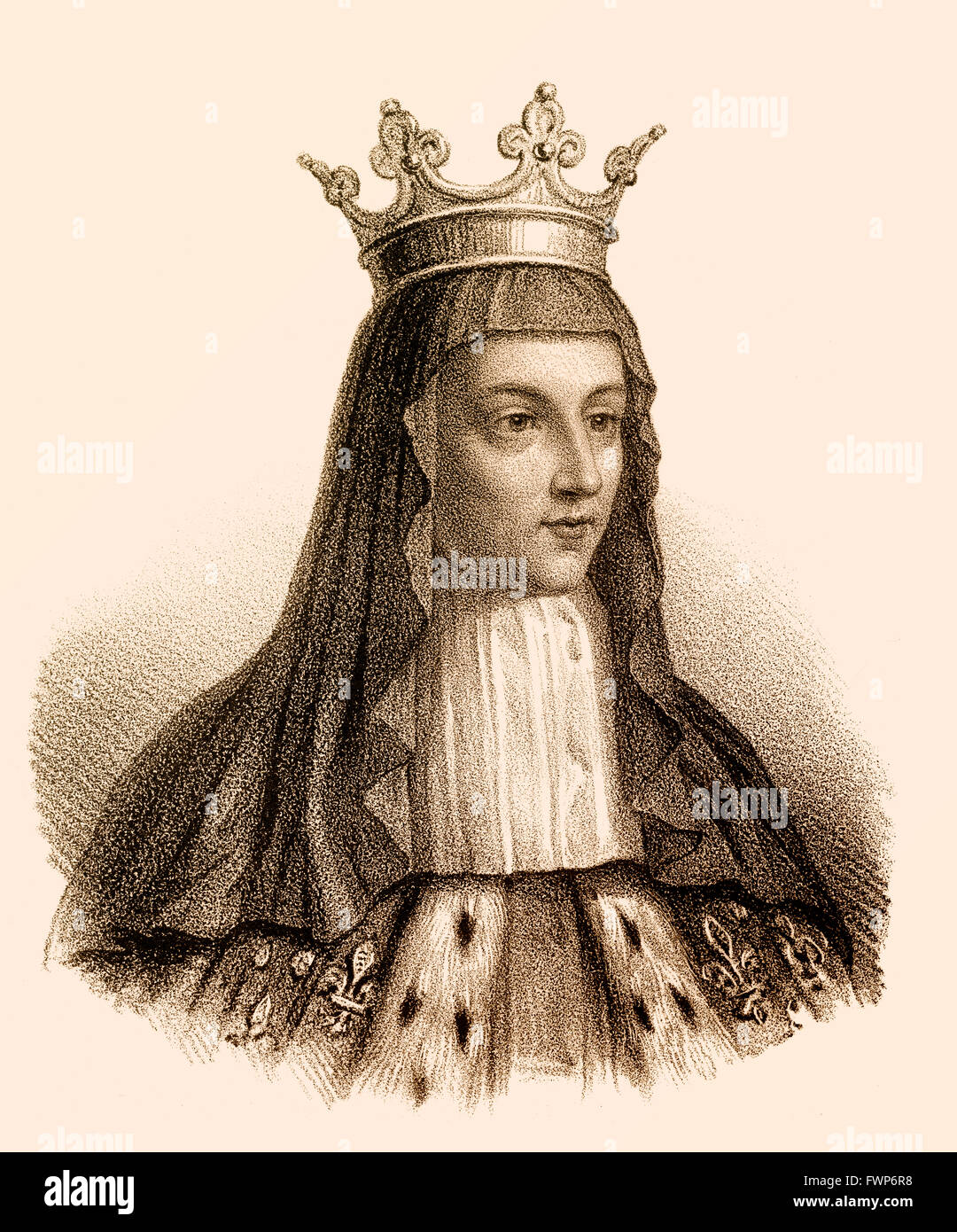 Radegund or Radegonde, wife to Chlothar I, Chlotachar or Clotaire, c. 495- 561, called the Old, King of the Franks of the Merovi Stock Photo