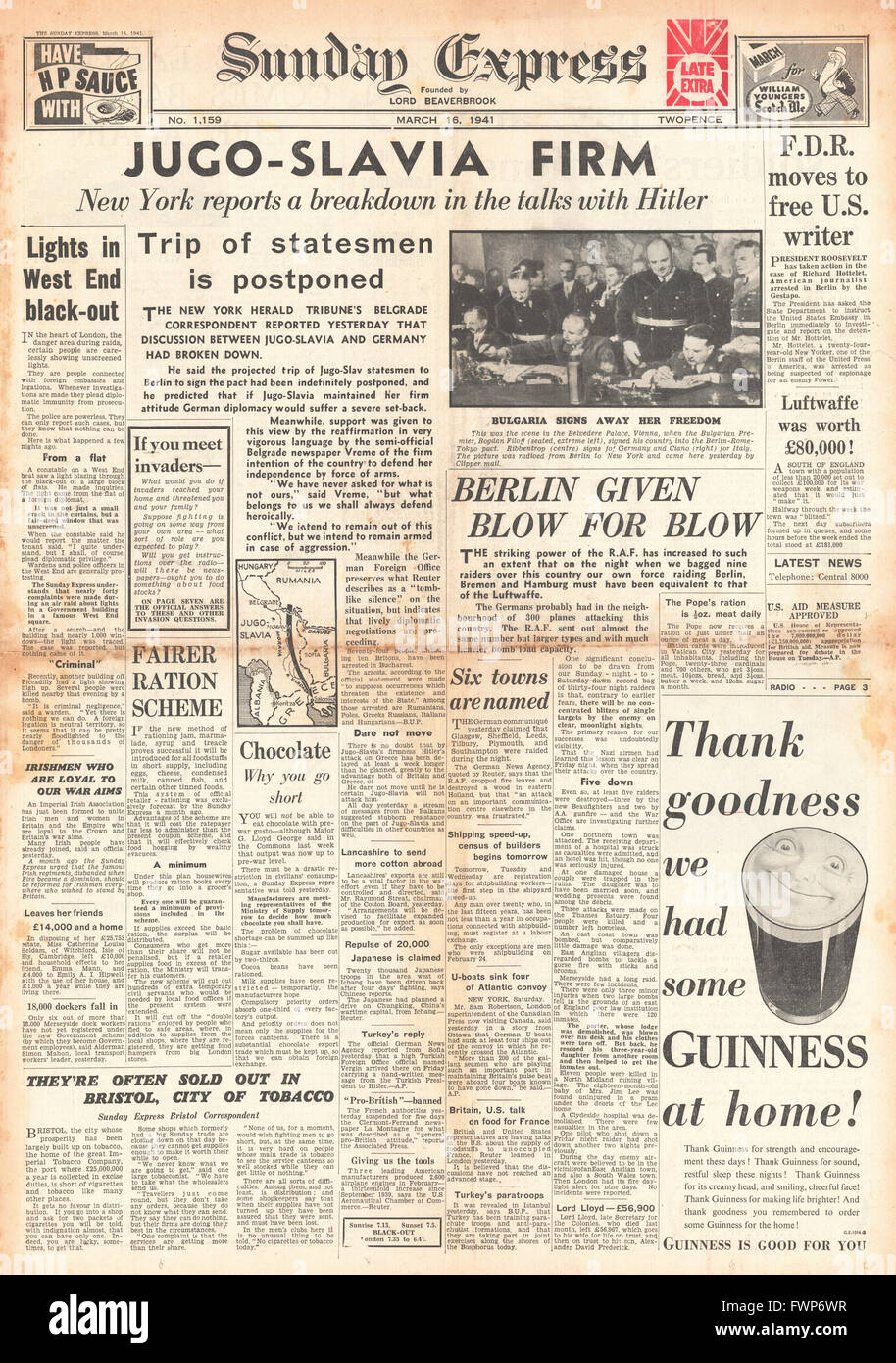 1941 front page Sunday Express Talks break down between Yugoslavia and Germany and Bulgaria sign pact with Germany, - Stock Image