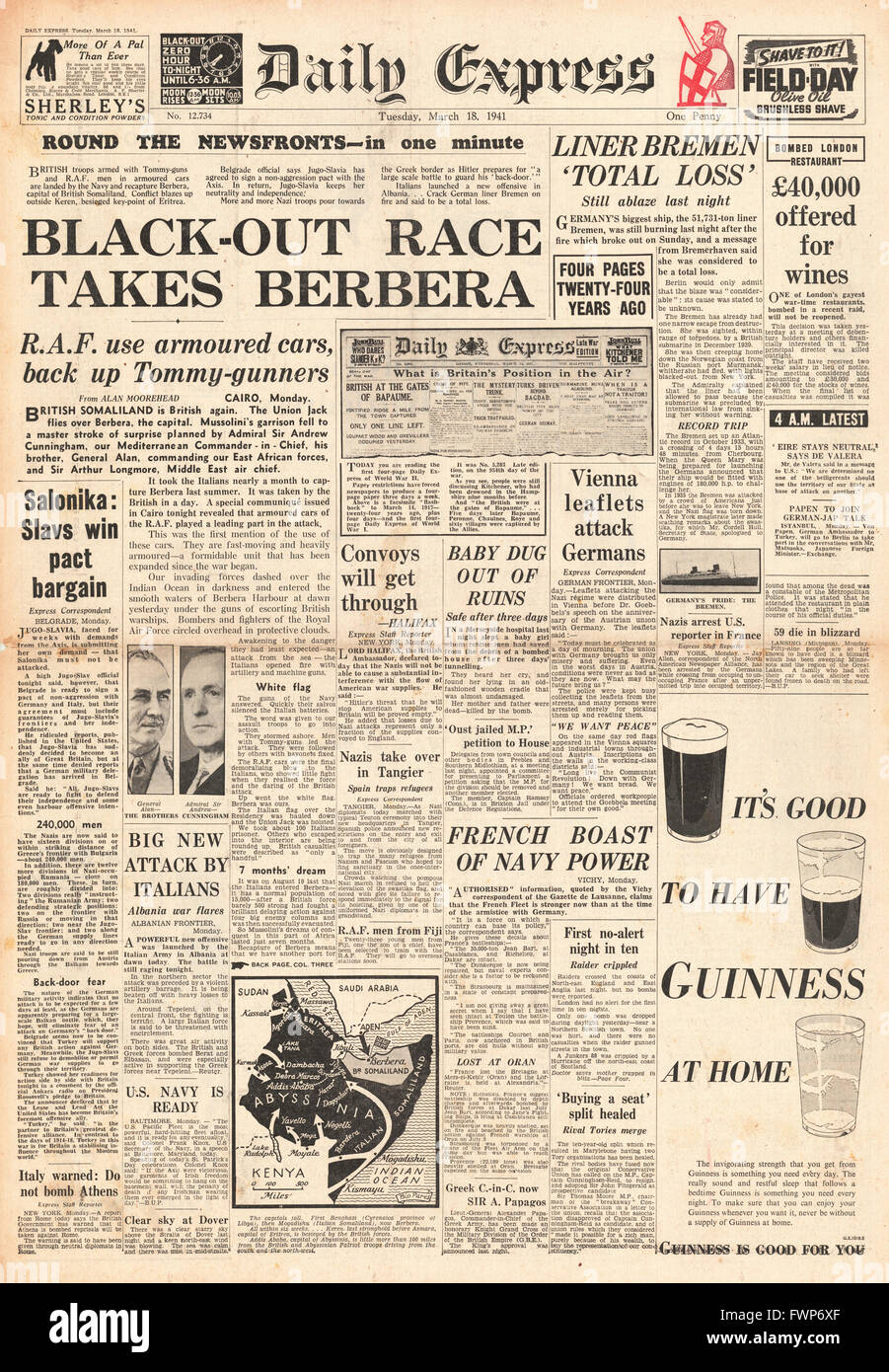 1941 front page Daily Express Imperial Forces capture the town of Berbera in Somaliland and German Liner SS Bremen - Stock Image