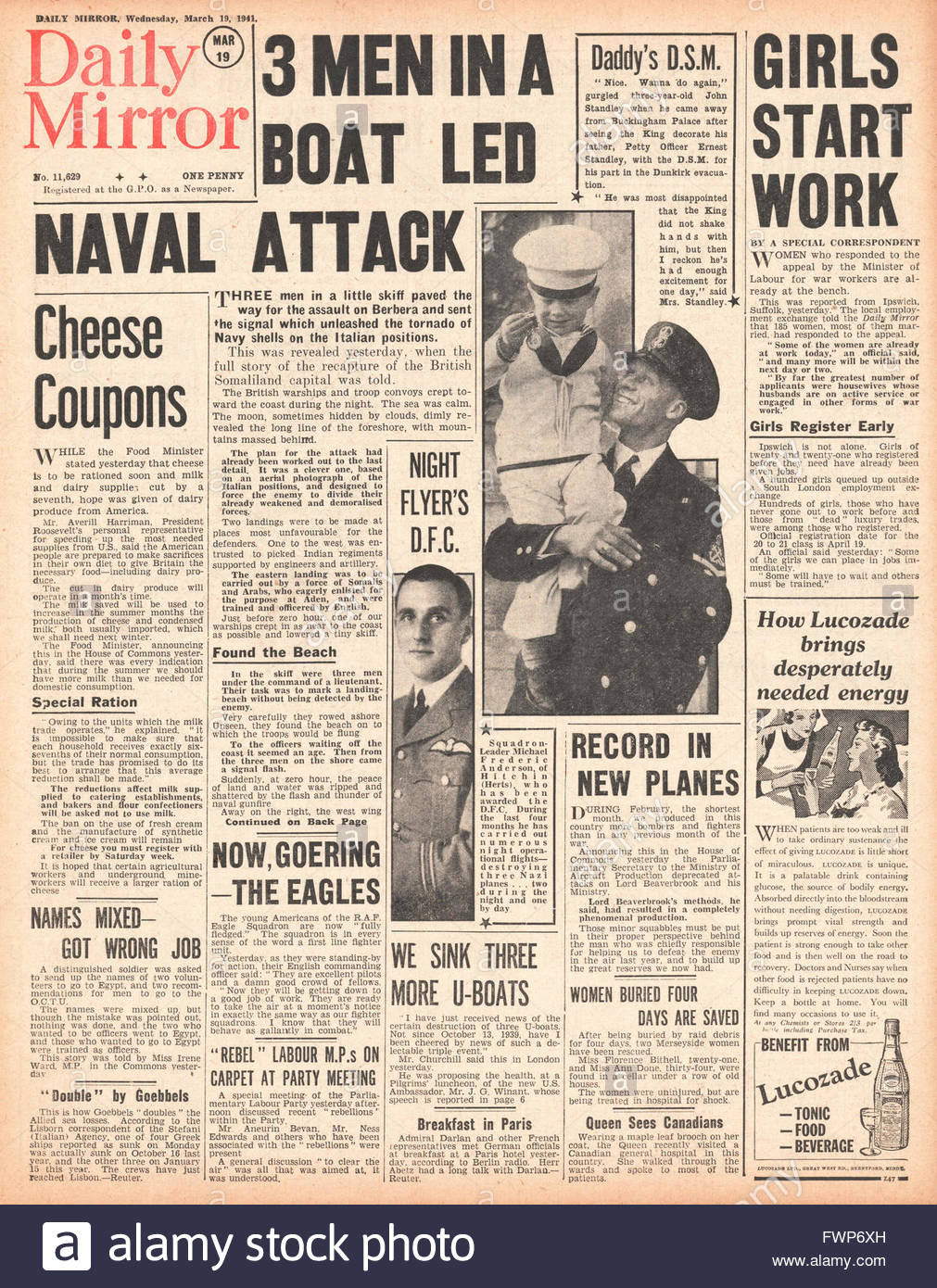 1941 front page Daily Mirror Imperial Forces capture the town of Berbera in Somaliland - Stock Image