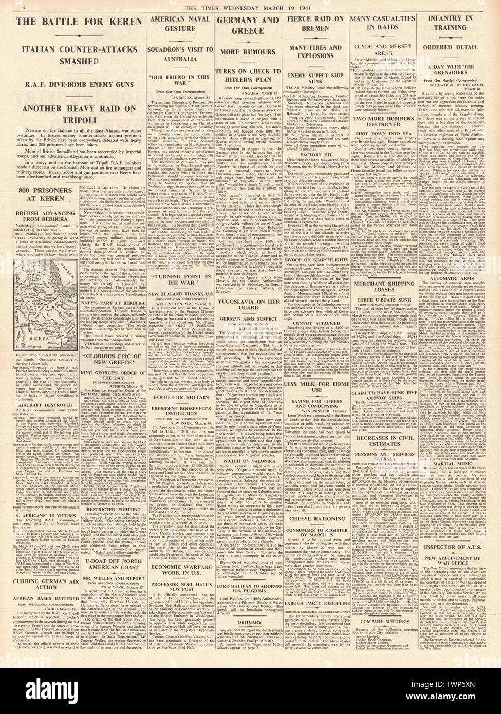 1941 page 4  The Times Battle for Keren and bombing raid on Bremen - Stock Image