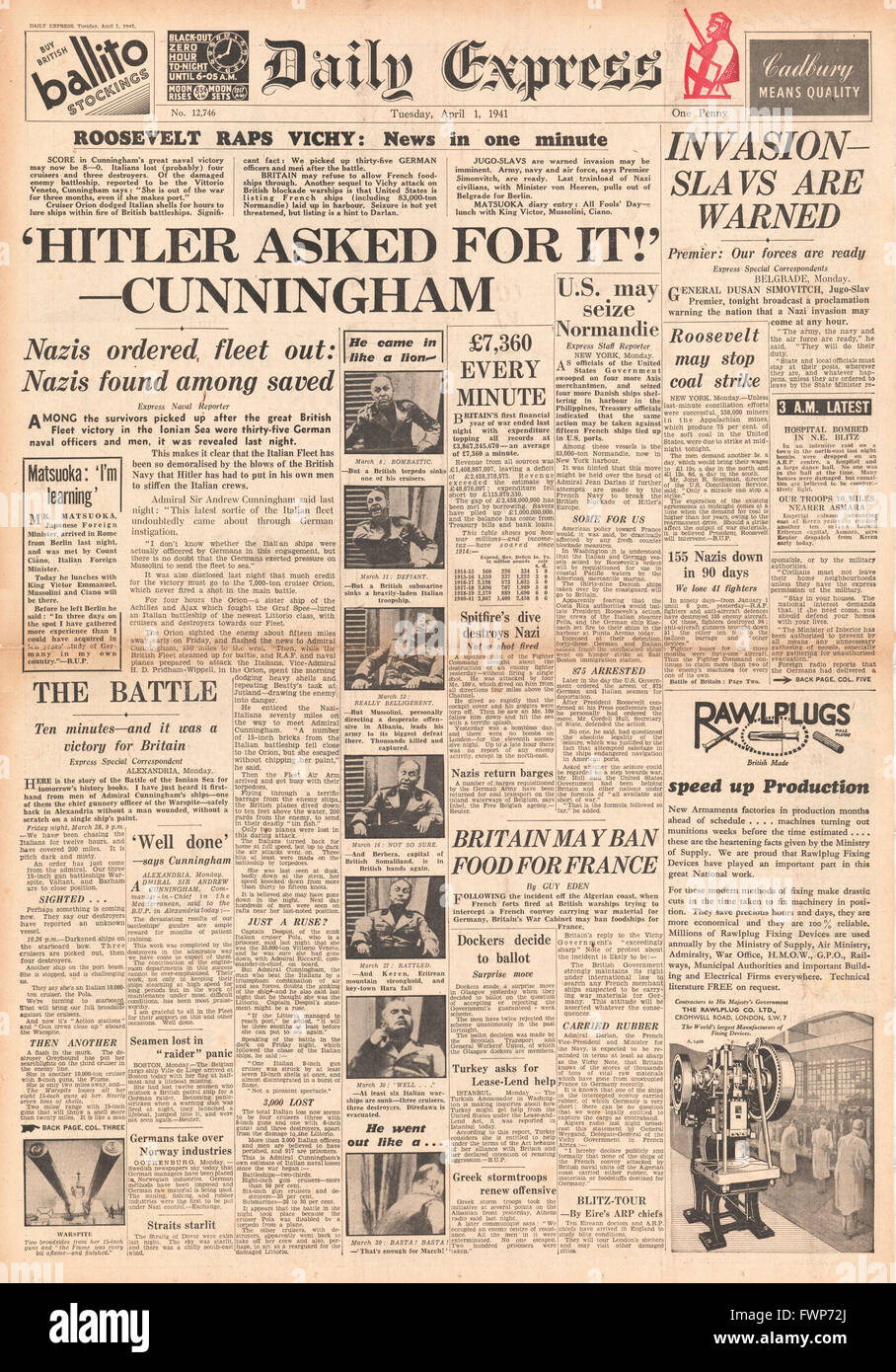 1941 front page Daily Express Battle of Cape Matapan - Stock Image