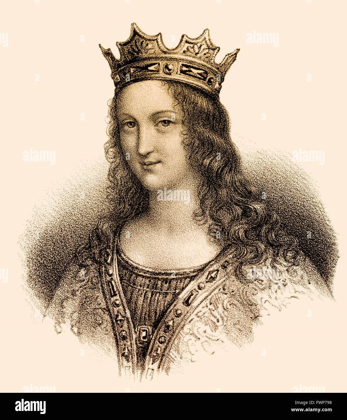 Adelaide-Blanche of Anjou, c.  940-1026, wife to Louis V, called The Lazy; c. 966/67-987, King of Western Francia Stock Photo