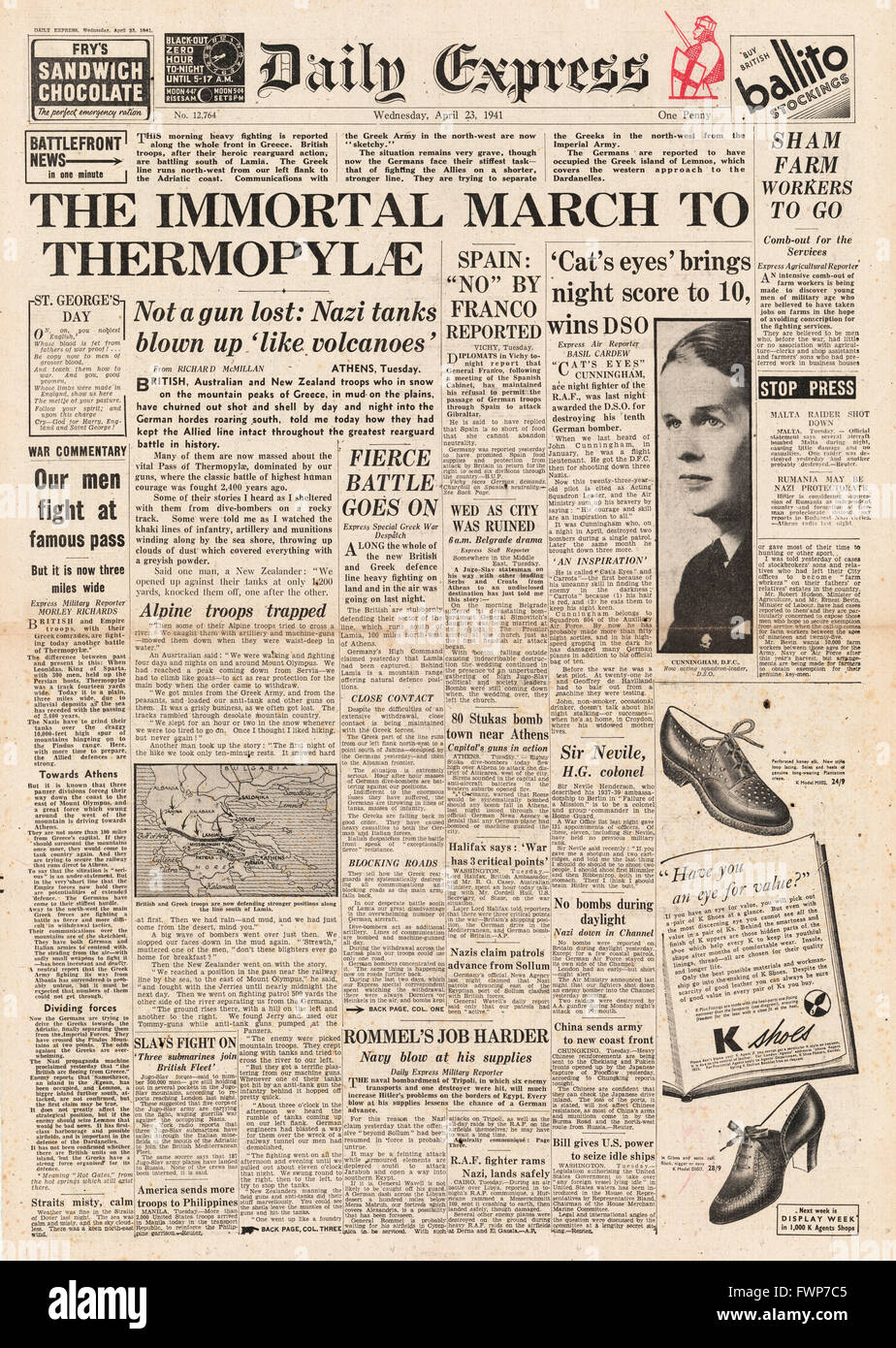 1941 front page Daily Express British and Anzac Forces hold firm in Greece - Stock Image