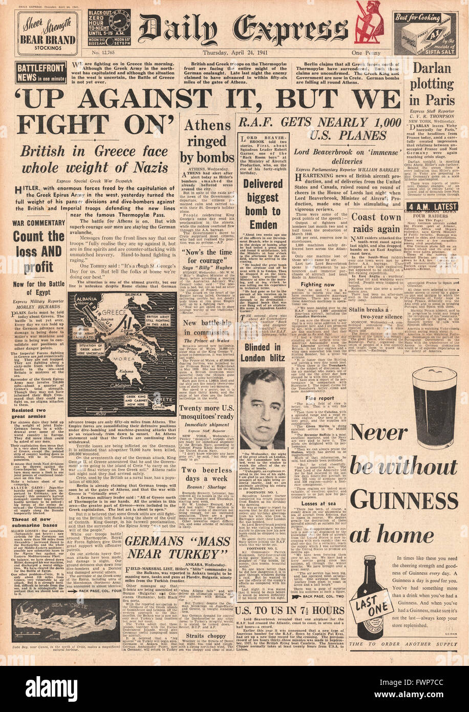 1941 front page  Daily Express Battle for Greece - Stock Image