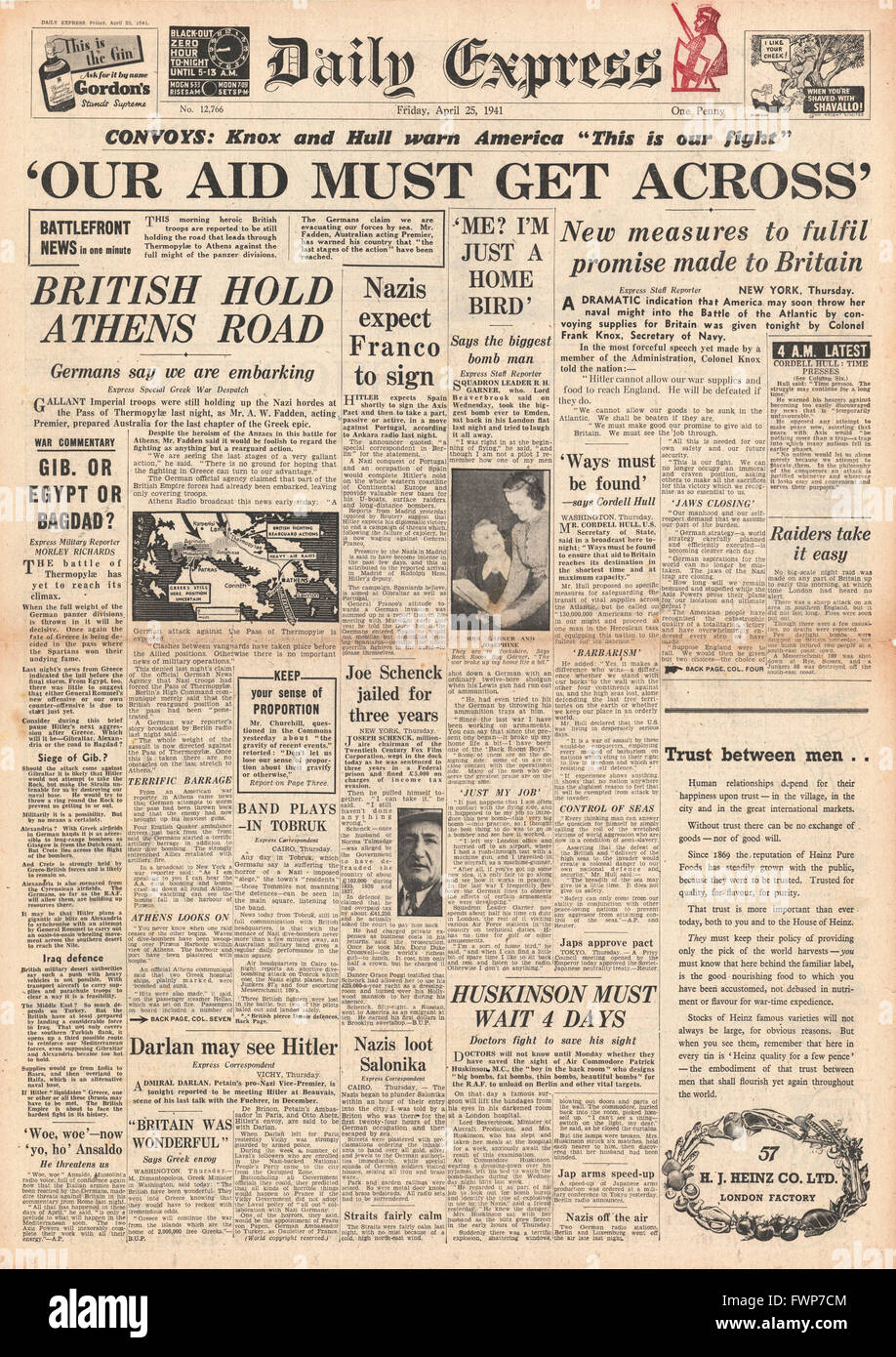 1941 front page  Daily Express United States to Convoy Aid Ships to Britain - Stock Image