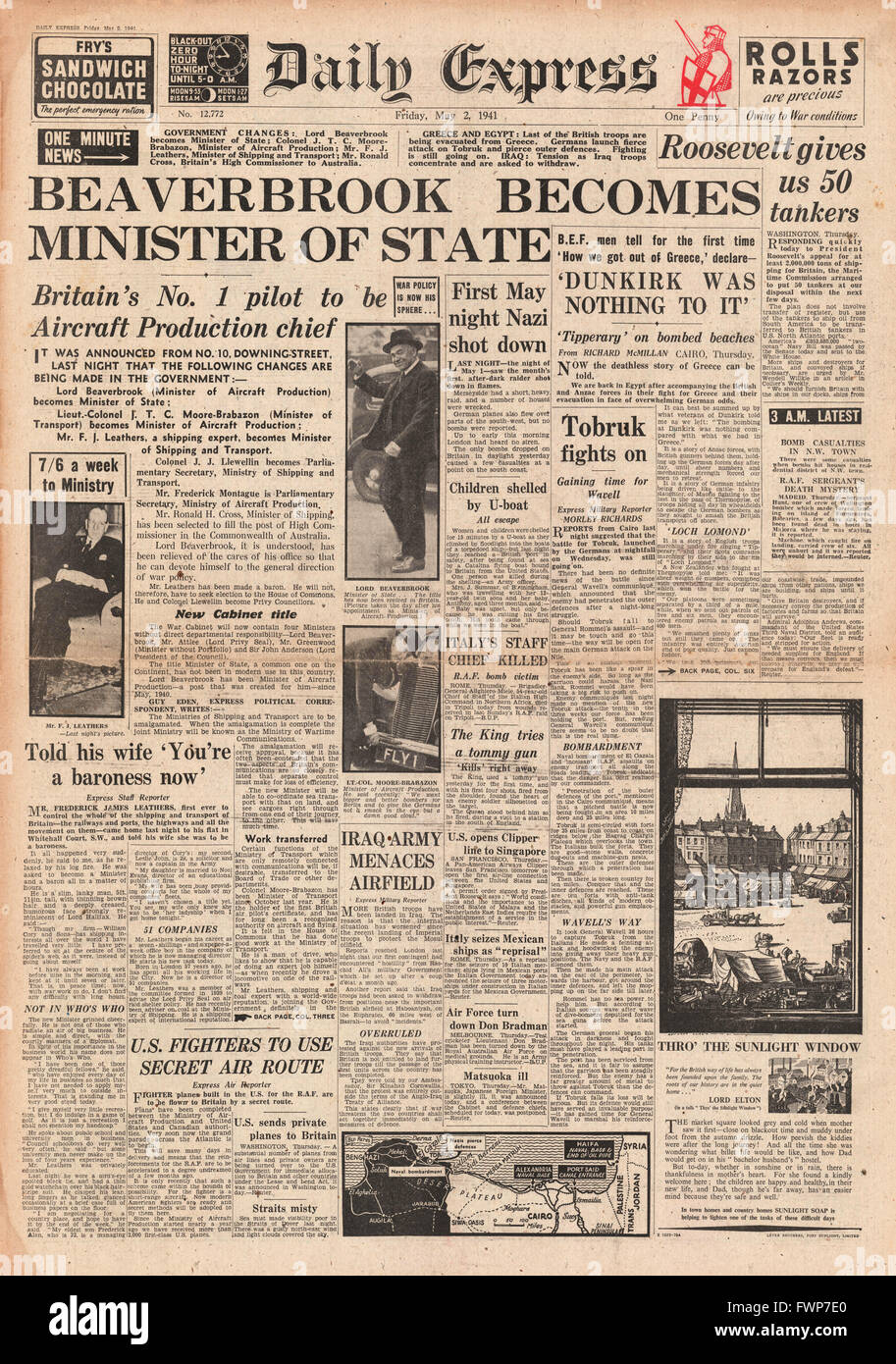 1941 front page  Daily Express Lord Beaverbrook appointed Minister of State - Stock Image