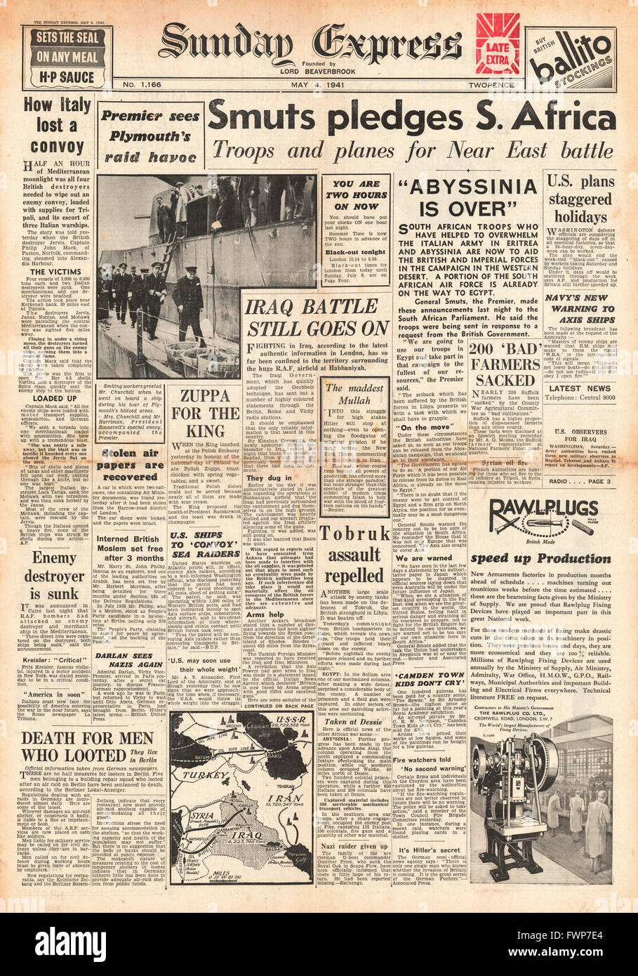 1941 front page  Sunday Express General Smuts pledges South African Forces will help Allies - Stock Image
