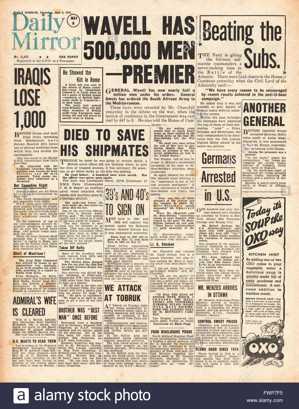 1941 front page  Daily Mirror General Wavell has 500,000 men under orders and General Smuts orders South African - Stock Image