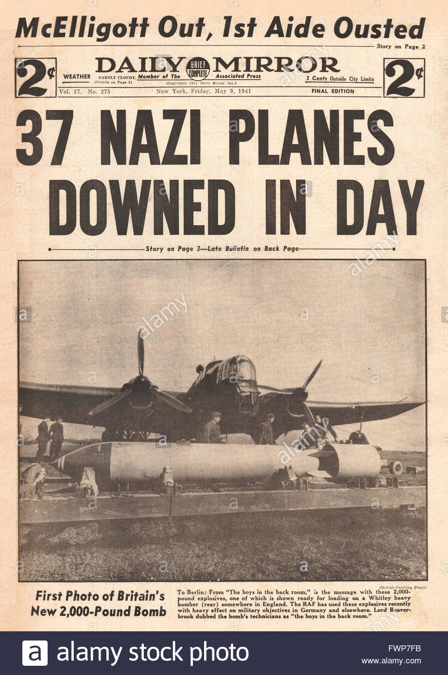 1941 front page  Daily Mirror (New York) 37 German planes down in one day - Stock Image