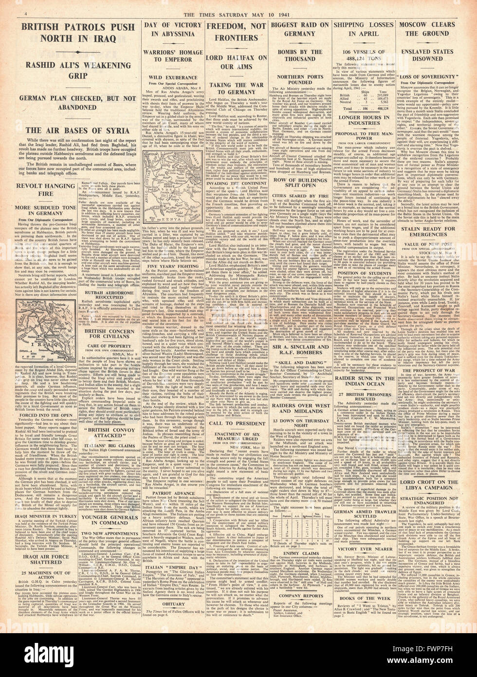 1941 page 4 The Times RAF bombing raids on Hamburg and Bremen and Emir Abdullah shot - Stock Image