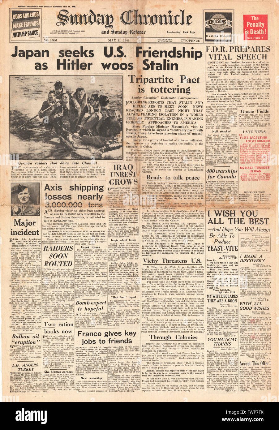 1941 front page  Sunday Chronicle Japan seeks U.S. friendship - Stock Image