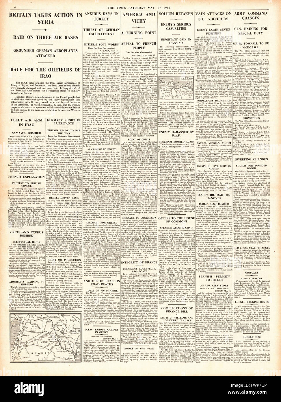 1941 page 4 The Times RAF bomb air bases in Syria - Stock Image