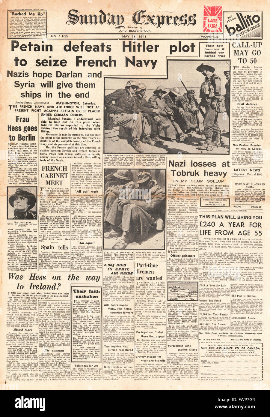 1941 front page Sunday Express Petain keeps control of French Navy - Stock Image
