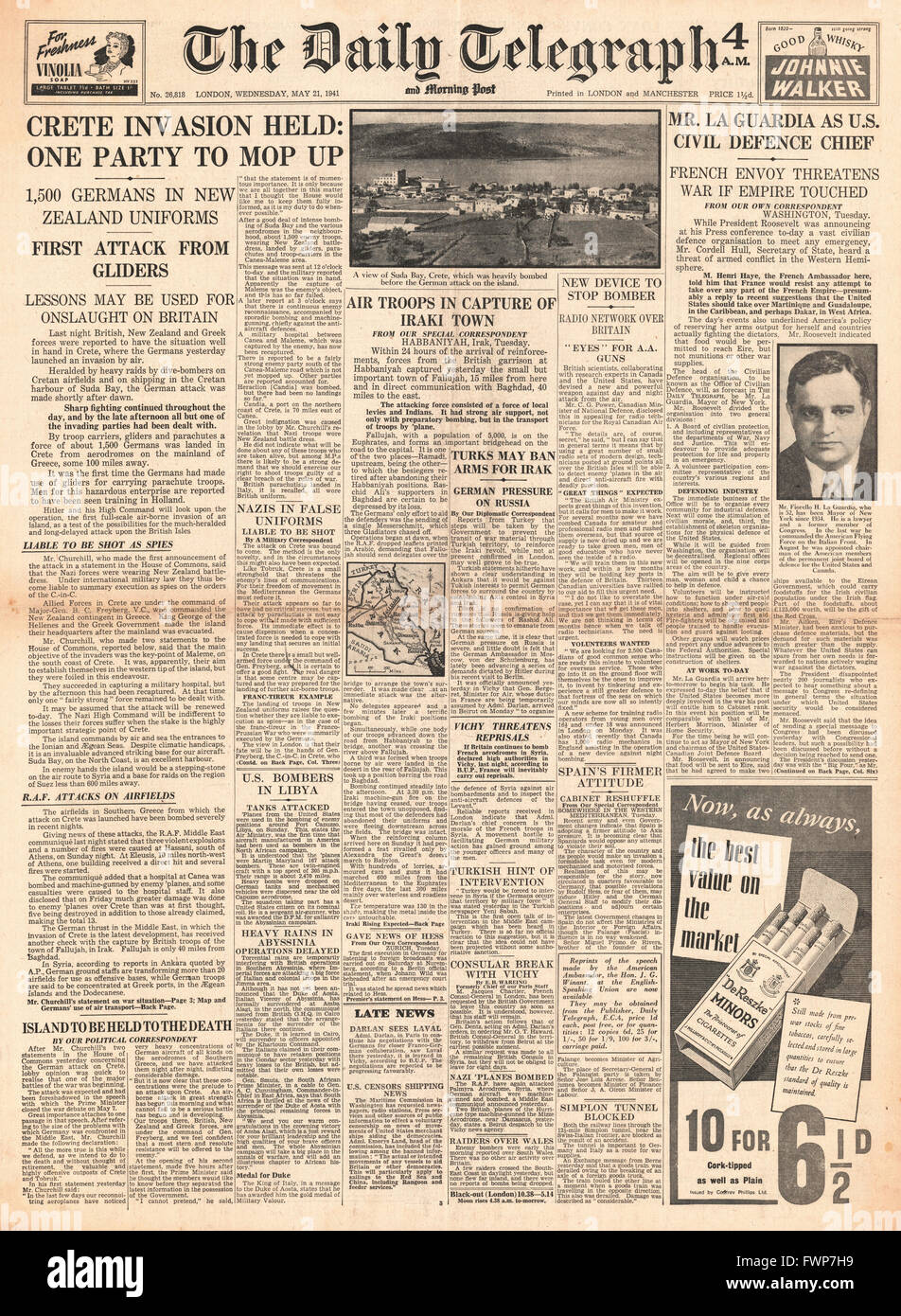 1941 front page Daily Telegraph German forces invade Crete, Fiorello La Guardia is the new U.S. defence chief and Stock Photo
