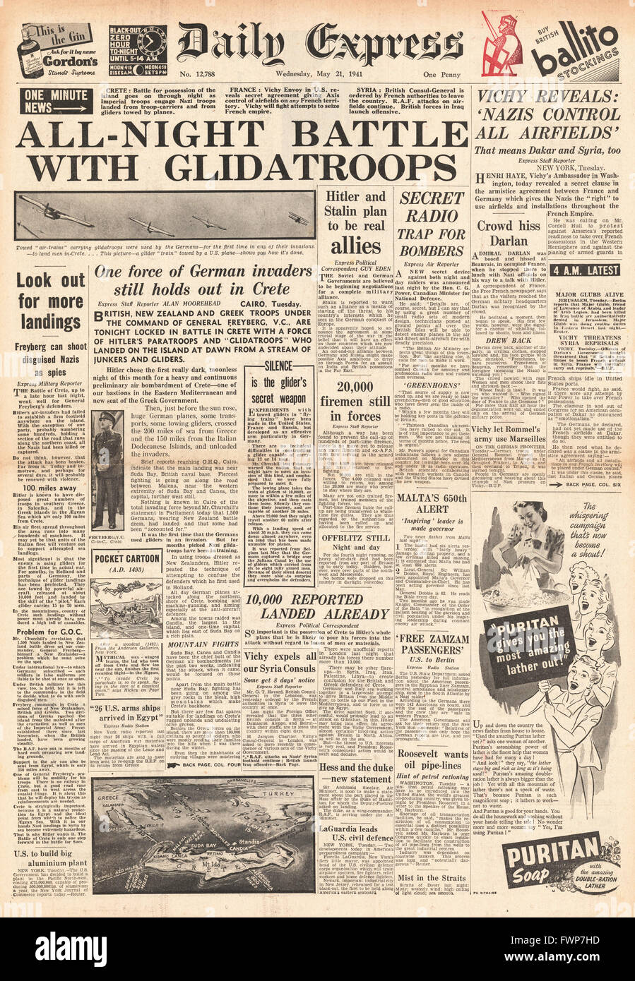 1941 front page Daily Express German forces invade Crete - Stock Image