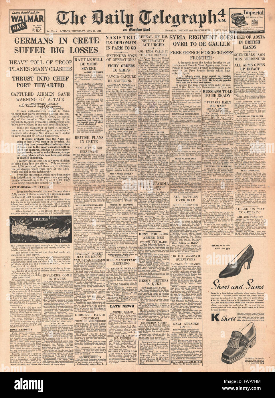 1941 front page Daily Telegraph Battle for Crete and Duke of Aosta surrenders in Abyssinia Stock Photo