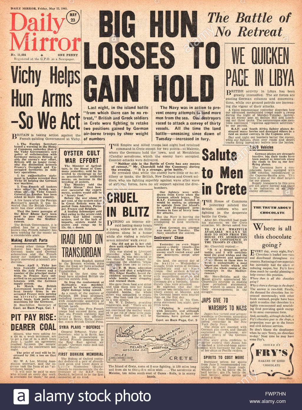 1941 front page Daily Mirror Battle for Crete, Duke of Aosta surrenders in Abyssinia and Vichy France allows Axis Stock Photo