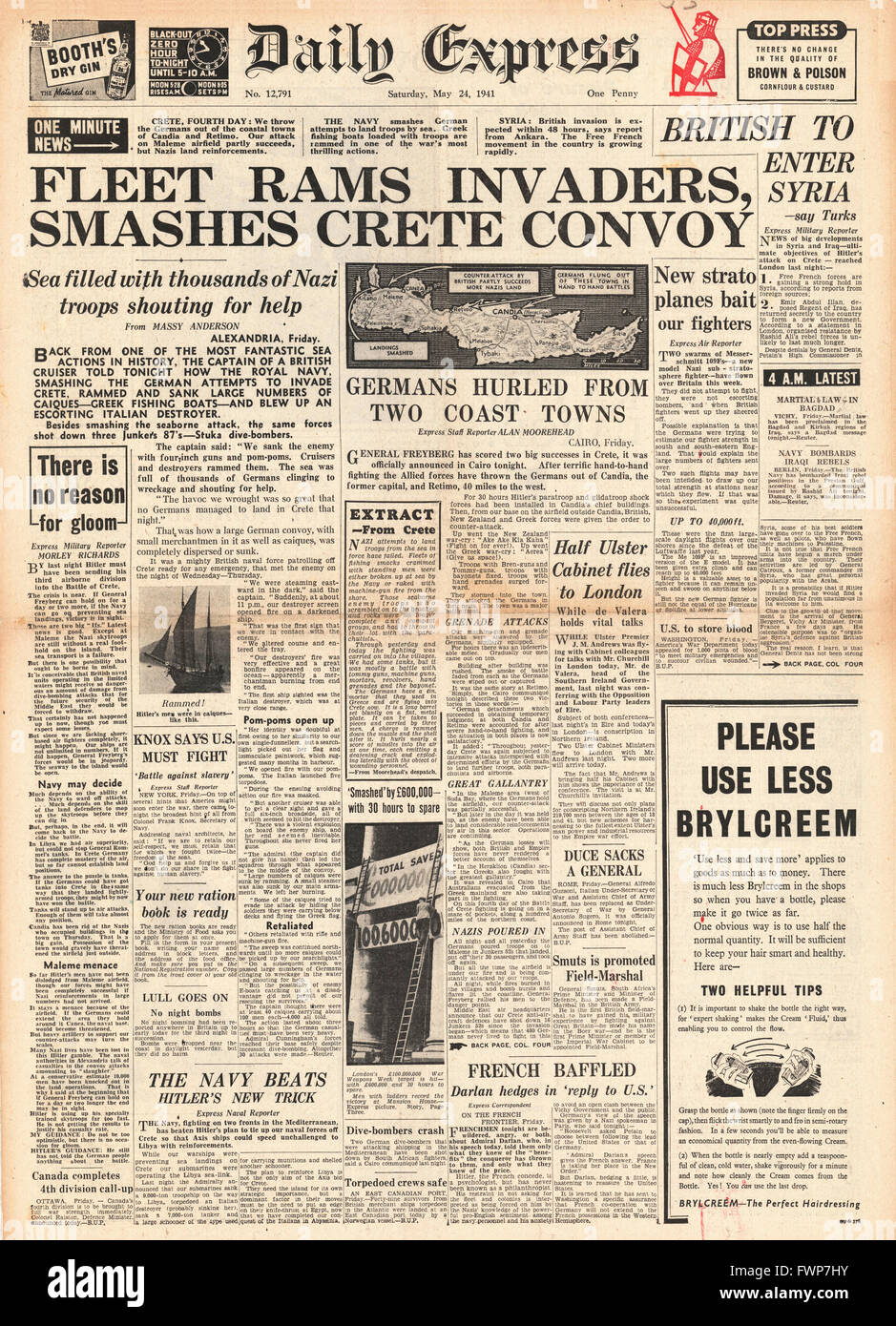 1941 front page Daily Express Naval battle for Crete - Stock Image