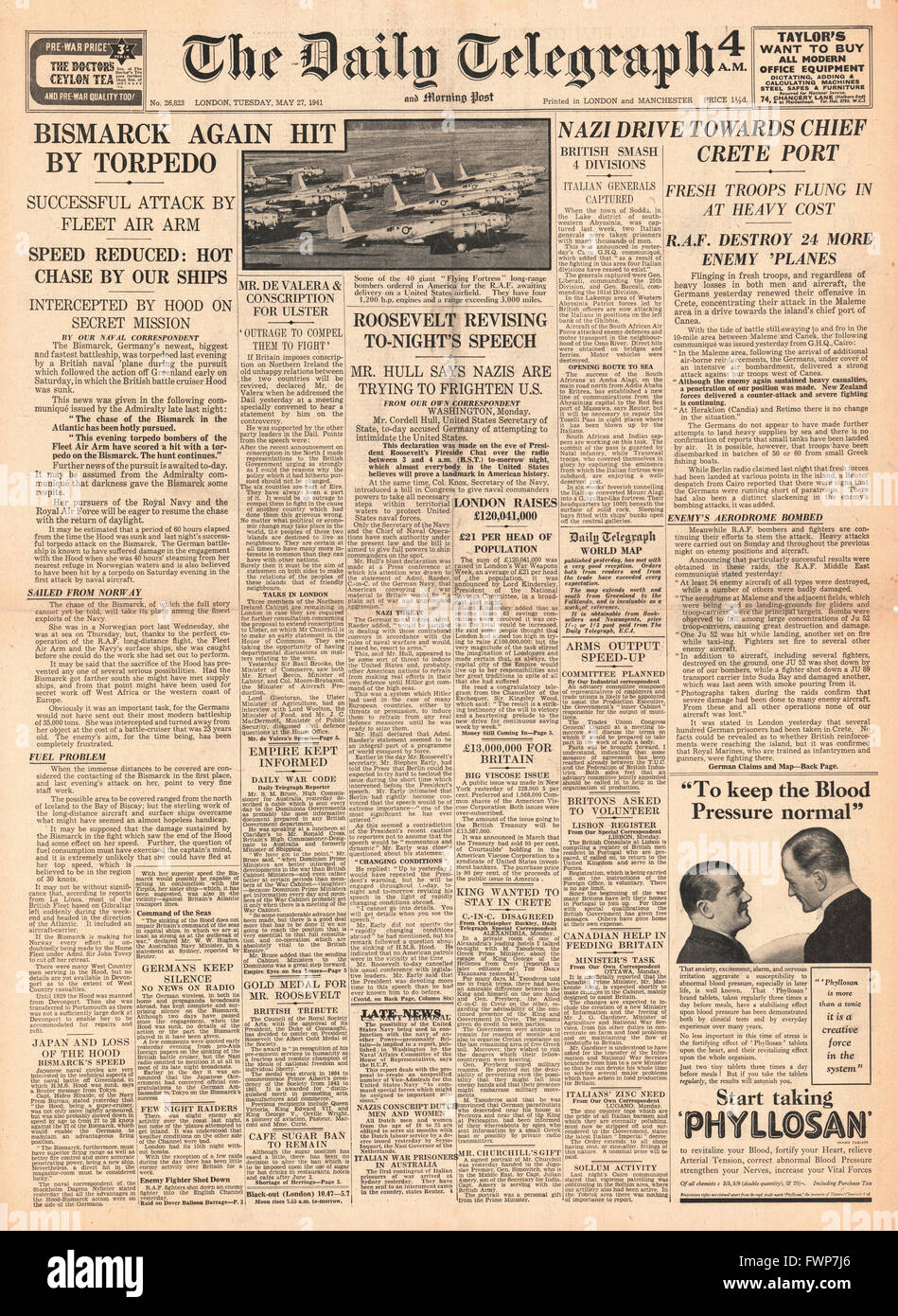 1941 front page Daily Telegraph Battle for Crete and German battleship Bismarck hit by torpedo - Stock Image