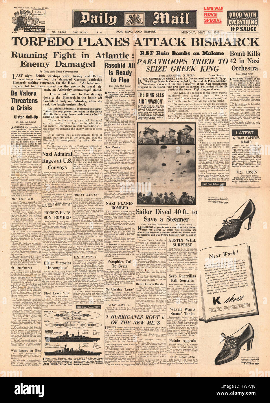 1941 front page Daily Mail Battle for Crete and Royal Navy Planes torpedo battleship Bismarck - Stock Image