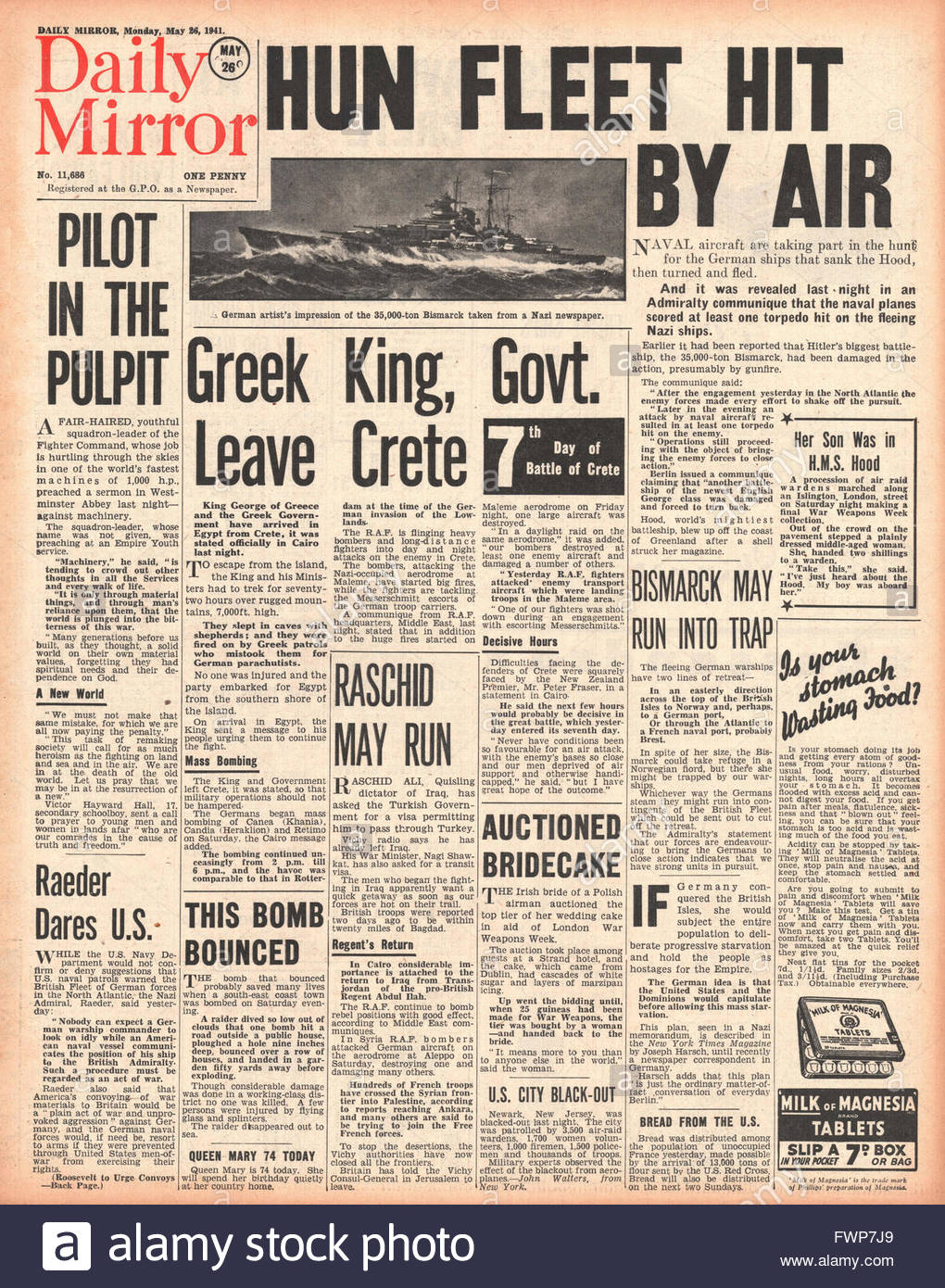 1941 front page Daily Mirror Battle for Crete and Royal Navy Planes torpedo battleship Bismarck - Stock Image