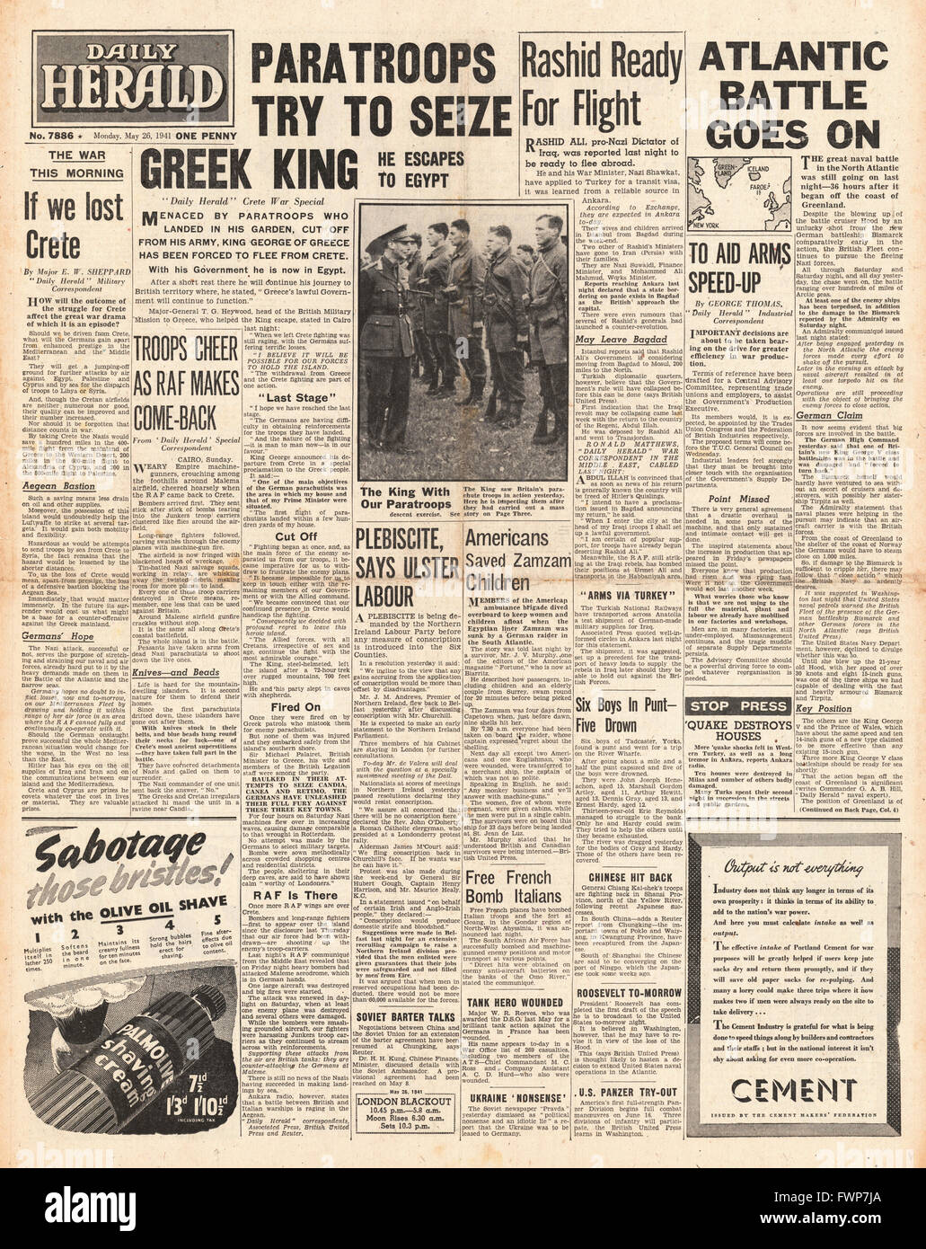 1941 front page Daily Herald Battle for Crete and Royal Navy Planes torpedo battleship Bismarck - Stock Image