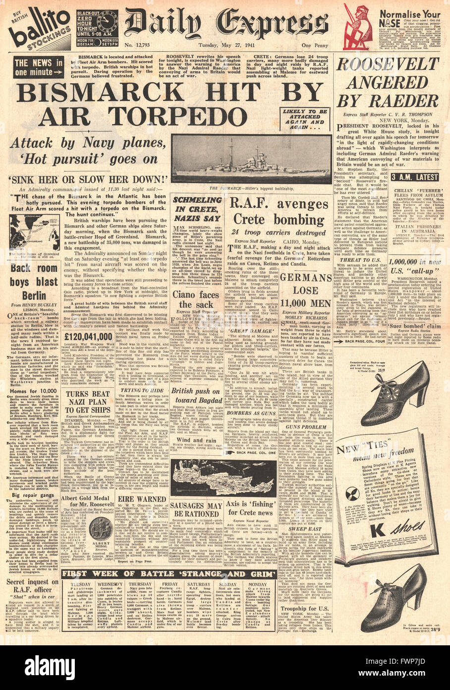 1941 front page Daily Express Battle for Crete and Royal Navy Planes torpedo battleship Bismarck - Stock Image