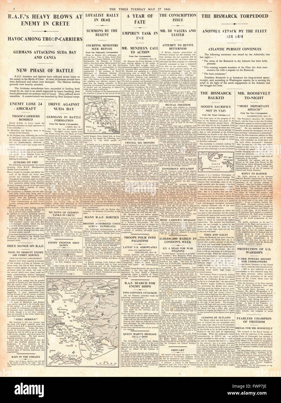 1941 page 4 The Times Battle for Crete and Royal Navy Planes torpedo battleship Bismarck - Stock Image
