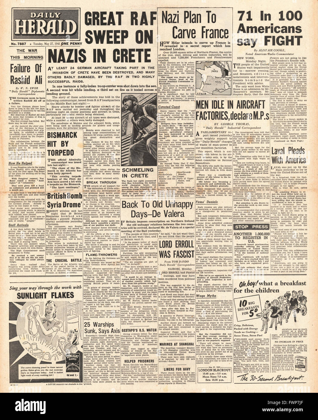 1941 front page Daily Herald Battle for Crete and Royal Navy Planes torpedo battleship Bismarck Stock Photo