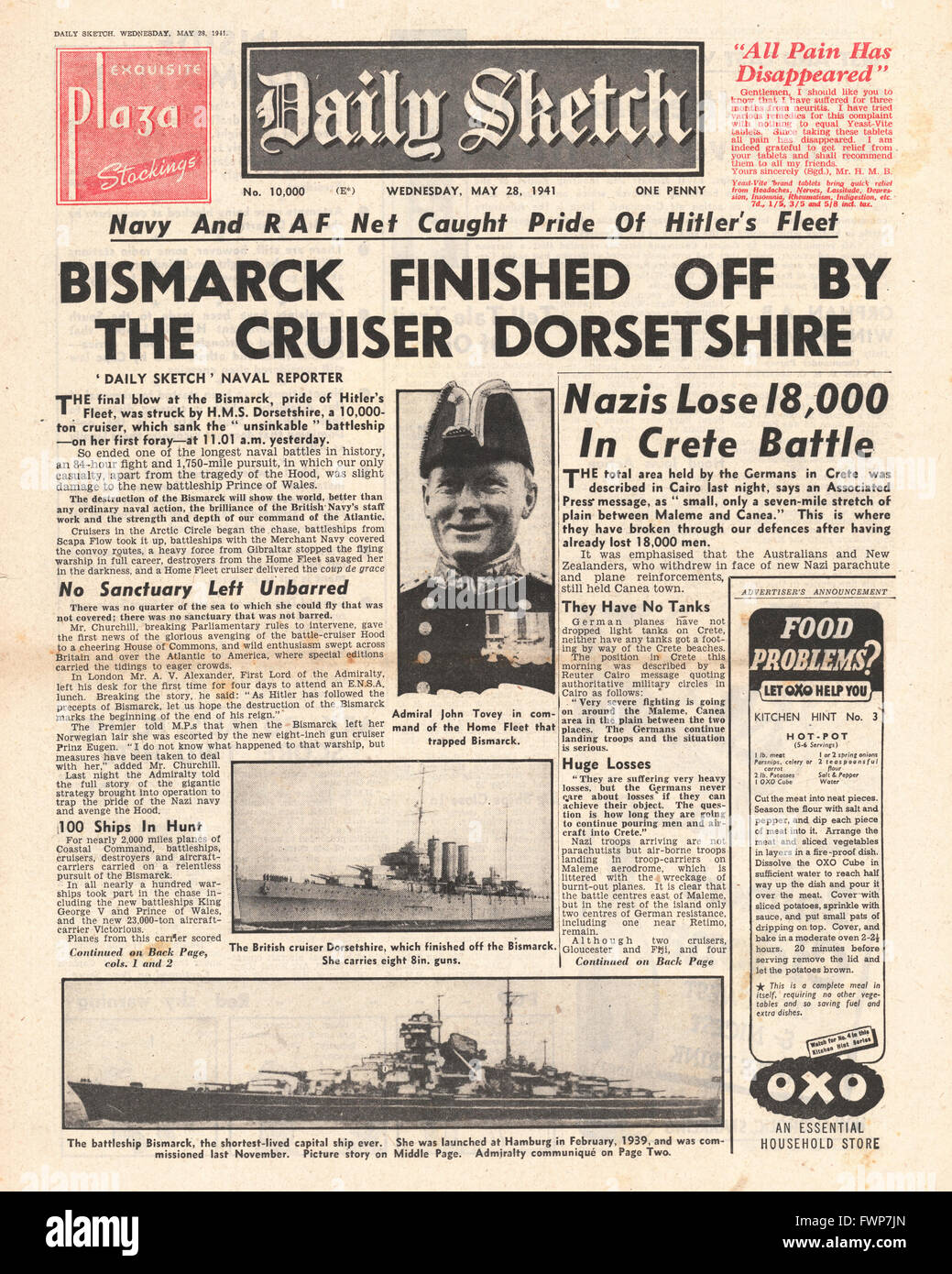 1941 front page Daily Sketch  Battle for Crete and Royal Navy Planes torpedo and sink the battleship Bismarck - Stock Image