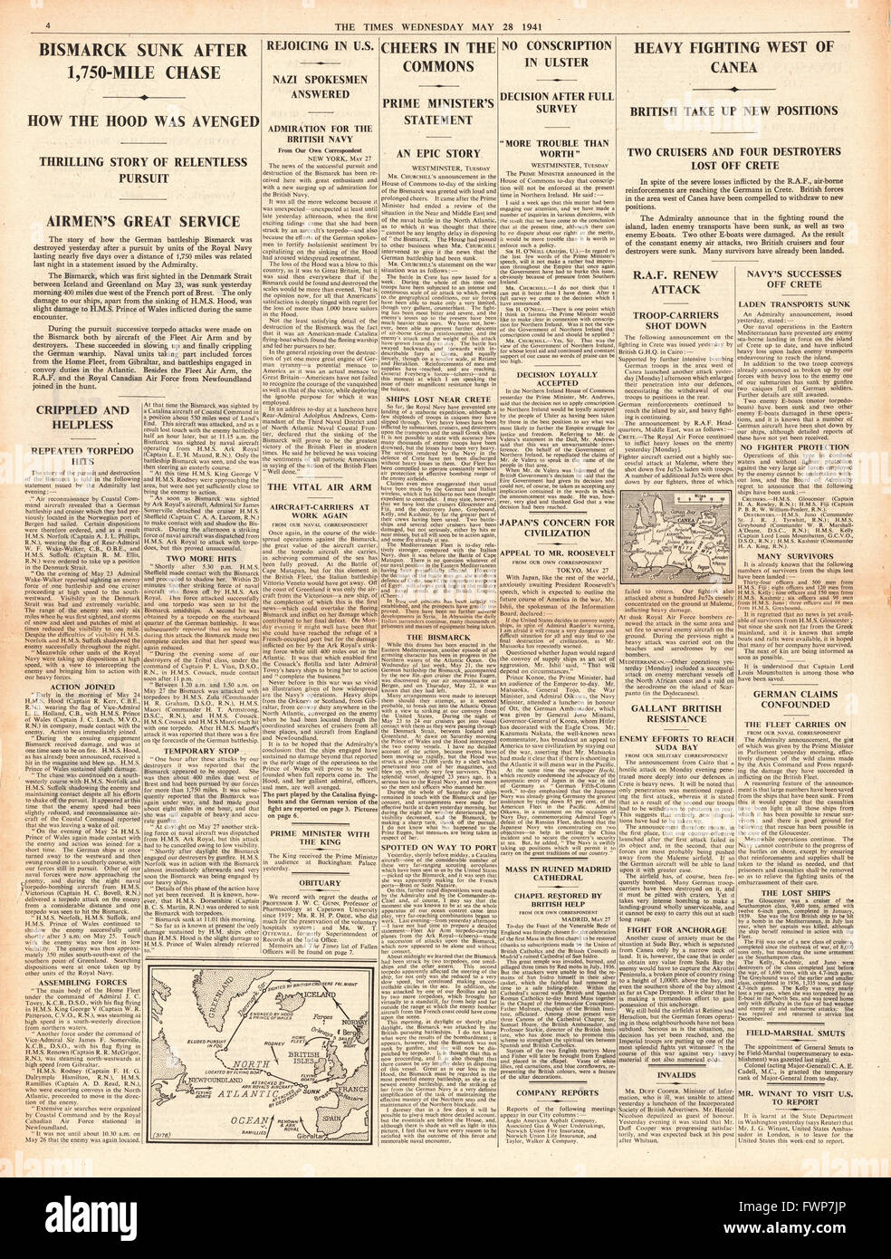 1941 page 4 The Times Battle for Crete and Royal Navy Planes torpedo and sink the battleship Bismarck - Stock Image