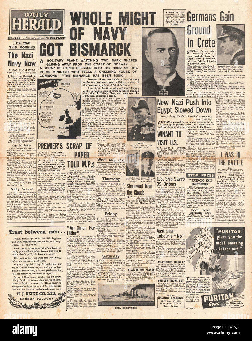 1941 front page Daily Herald  Battle for Crete and Royal Navy Planes torpedo and sink the battleship Bismarck - Stock Image