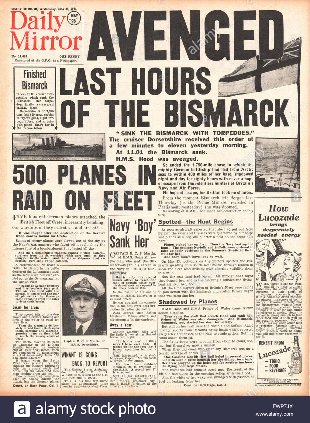 1941 front page Daily Mirror  Battle for Crete and Royal Navy Planes torpedo and sink the battleship Bismarck - Stock Image