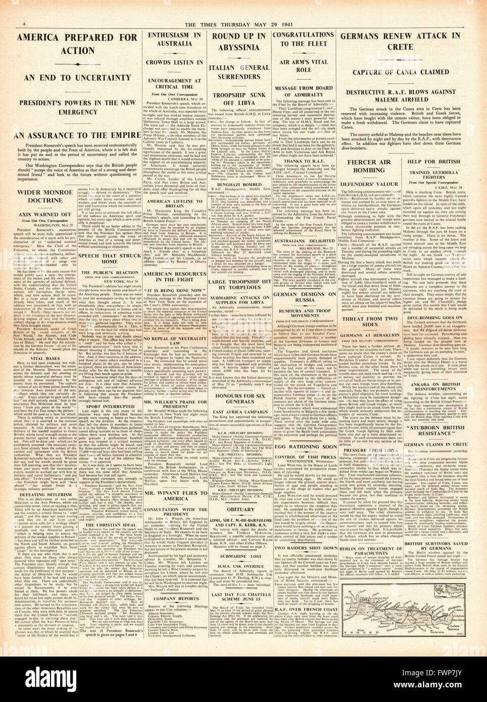 1941 page 4 The Times Roosevelt says America prepared for action and battle for Crete Stock Photo