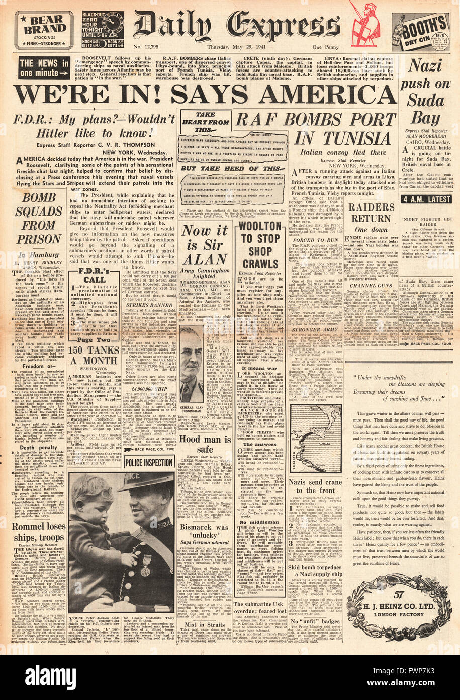 1941 front page Daily Express Roosevelt says America prepared for action and battle for Crete - Stock Image