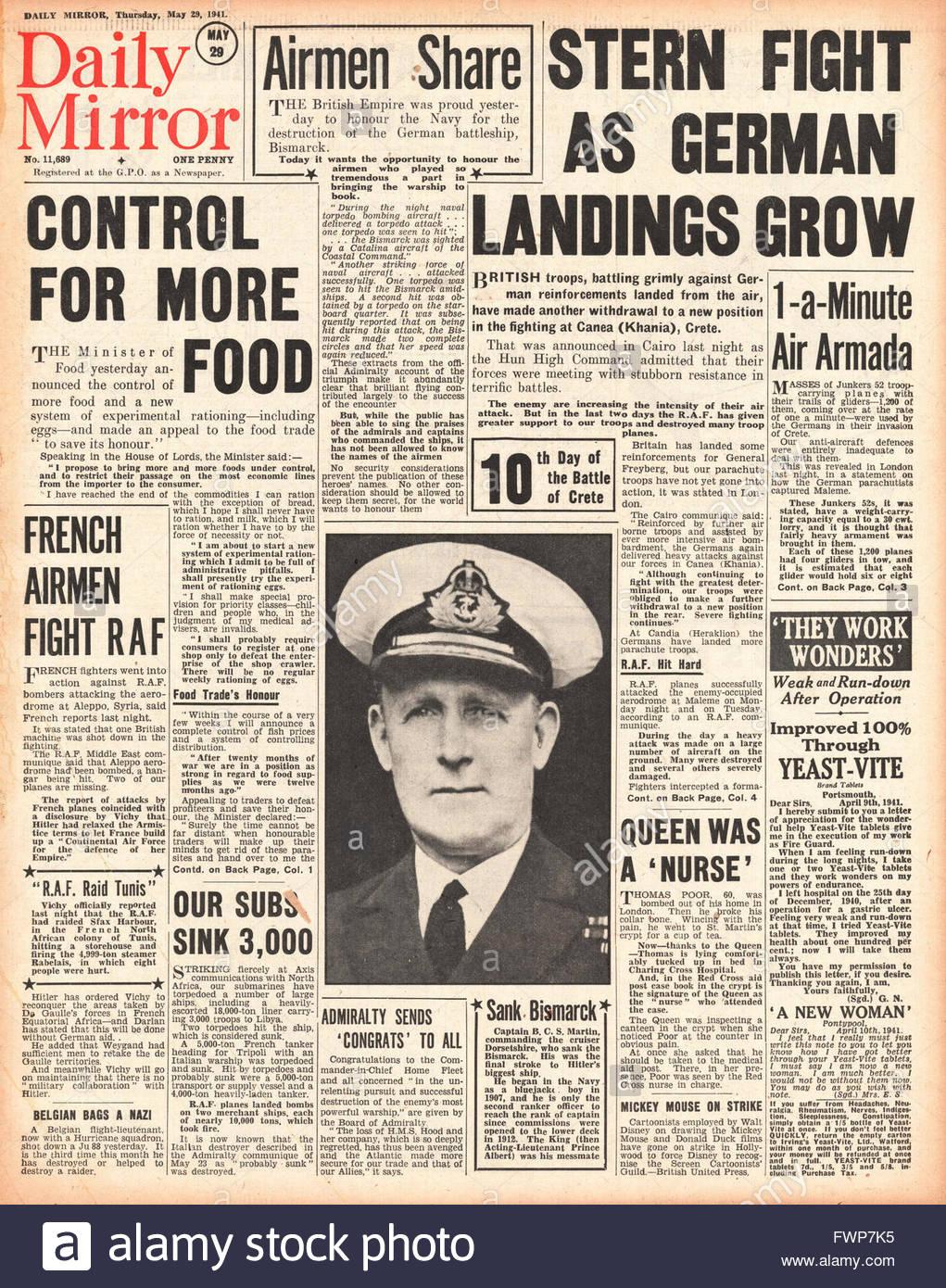 1941 front page  Daily Mirror Battle for Crete and Food Control - Stock Image