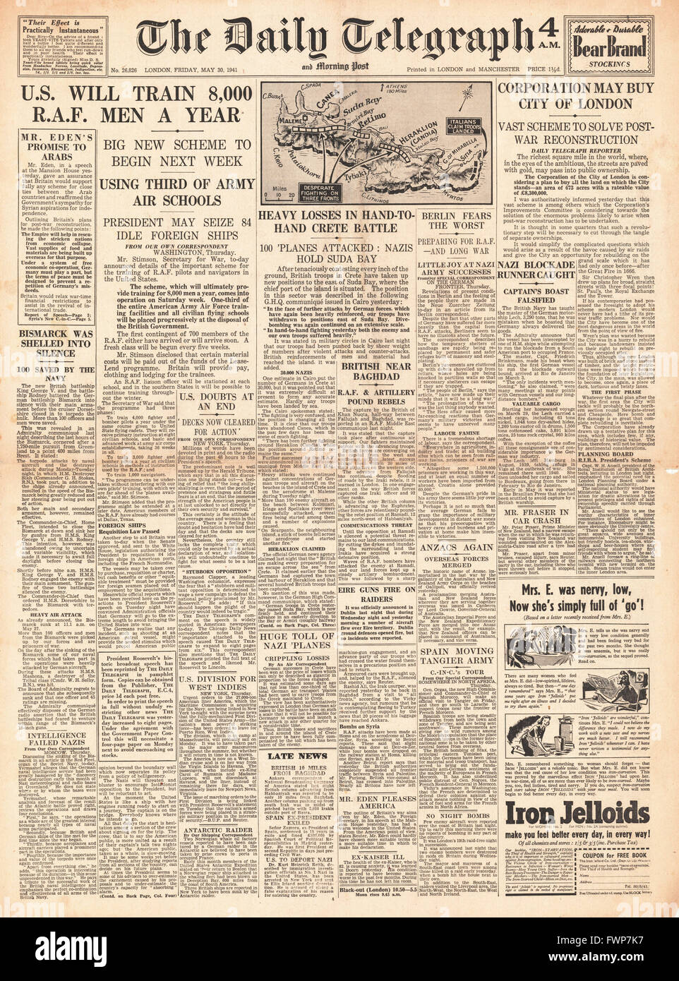 1941 front page Daily Telegraph Battle for Crete and U.S. to train RAF pilots - Stock Image