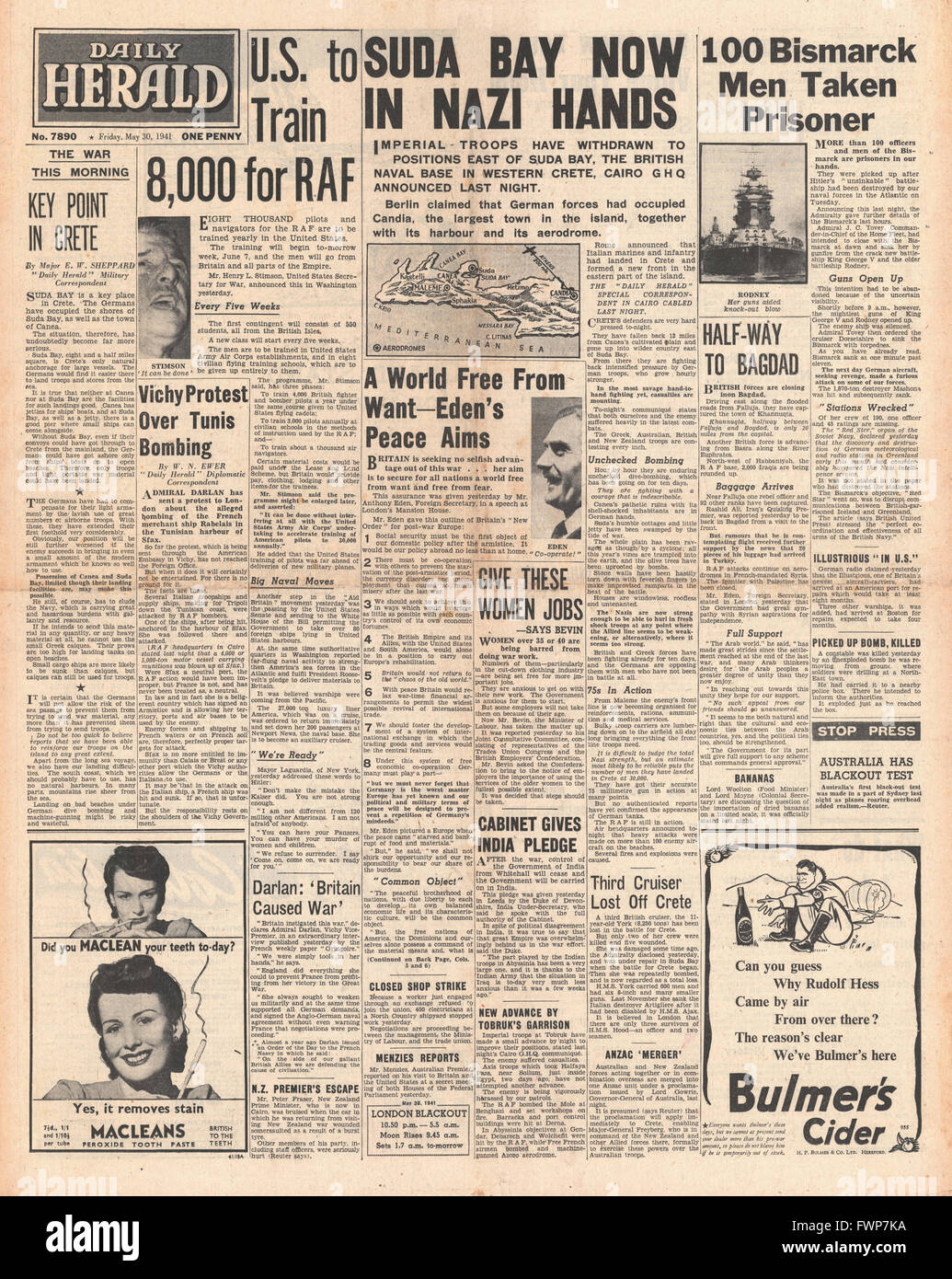 1941 front page Daily Herald Suda falls in battle for Crete, U.S. to train RAF Pilots, Royal Navy Planes torpedo - Stock Image