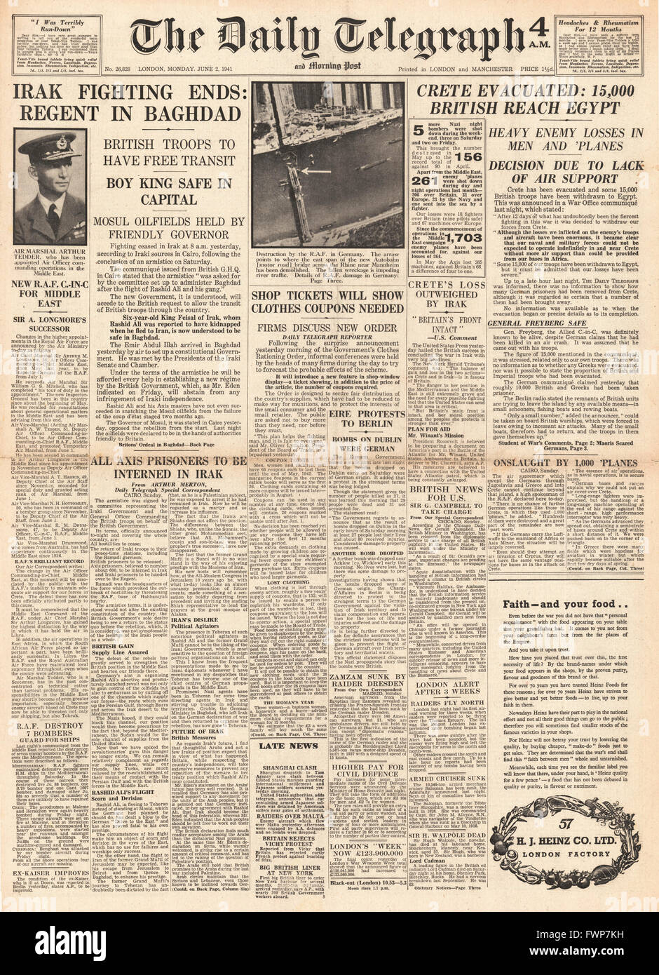 1941 front page  Daily Telegraph Crete evacuated by British Forces and fighting ends in Iraq Stock Photo