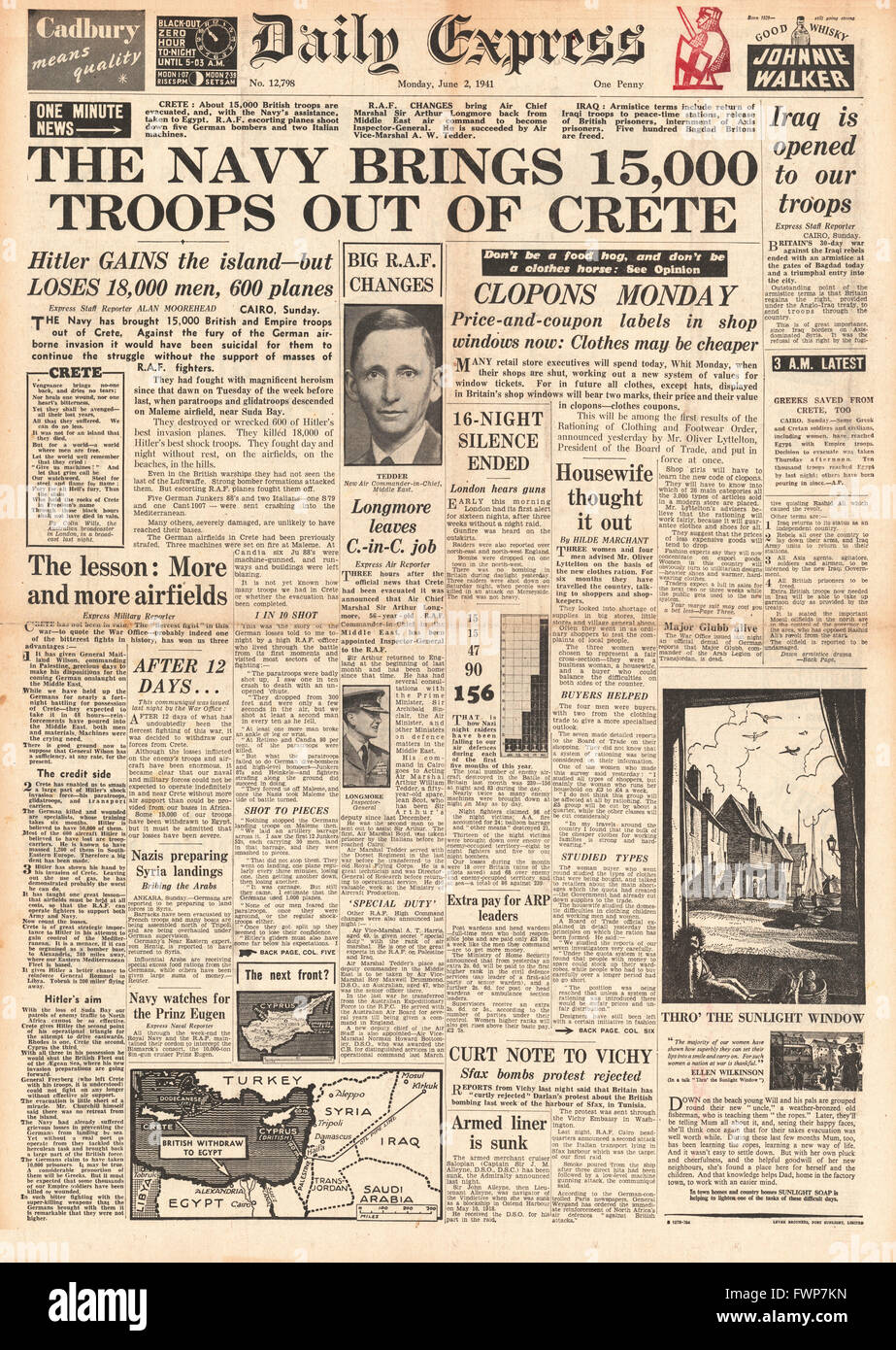 1941 front page  Daily Express Crete evacuated by British Forces and fighting ends in Iraq - Stock Image