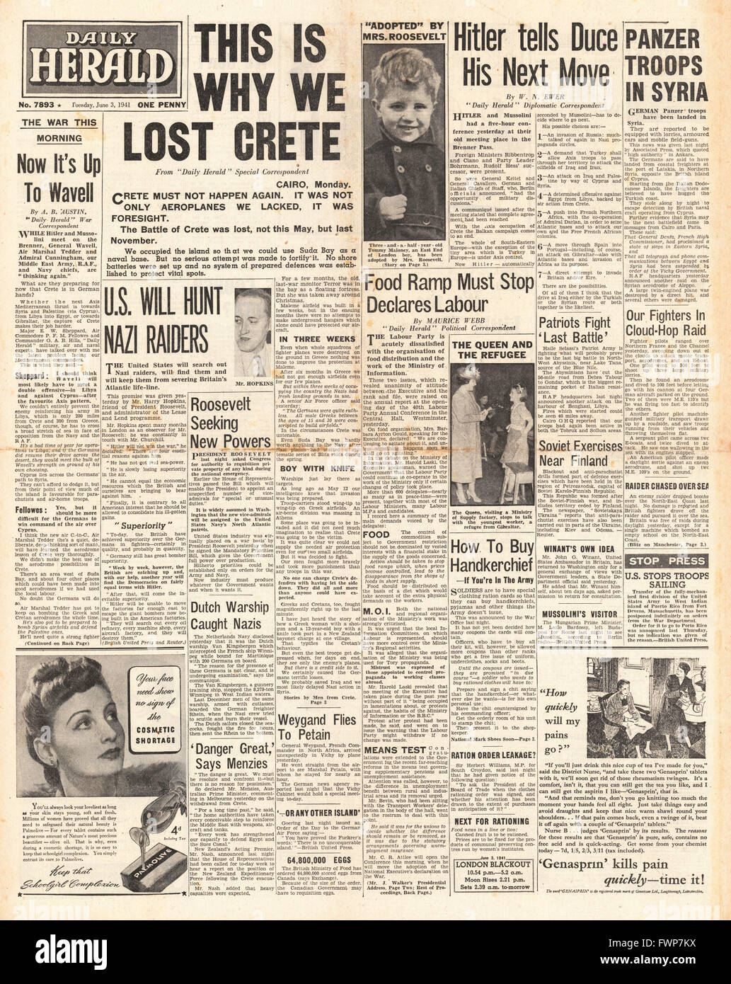 1941 front page Daily Herald Allied defeat in Crete Stock Photo