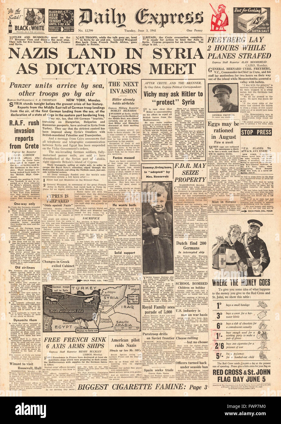 1941 front page  Daily Express German Forces land in Syria - Stock Image