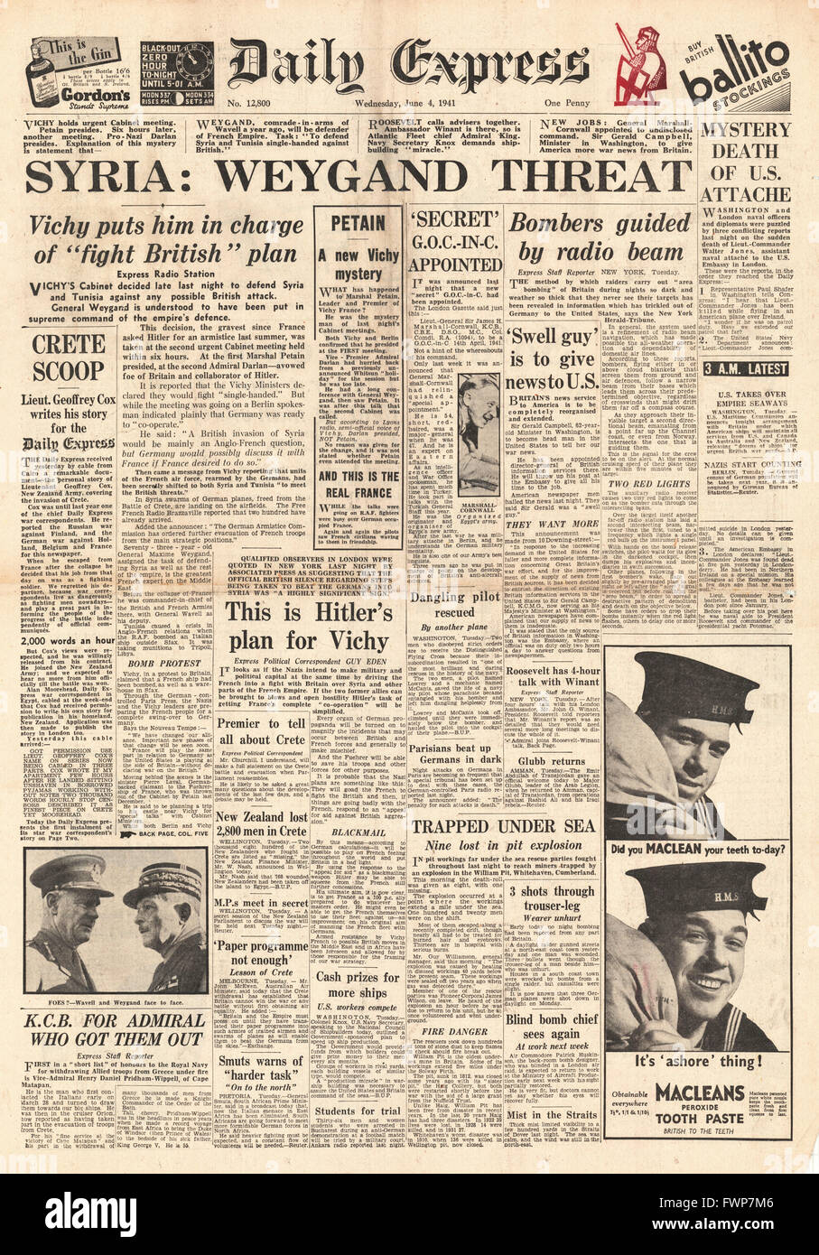 1941 front page  Daily Express Vichy France put General Weygand in command of Syria's defence - Stock Image