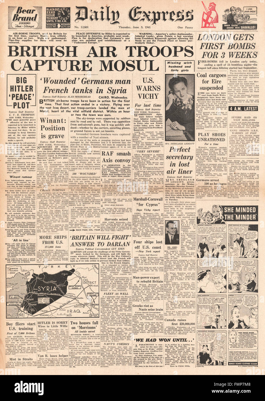 1941 front page  Daily Express British Paratroops capture Mosul - Stock Image