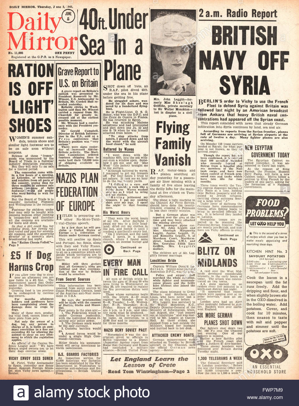 1941 front page Daily Mirror British Navy off Syria - Stock Image