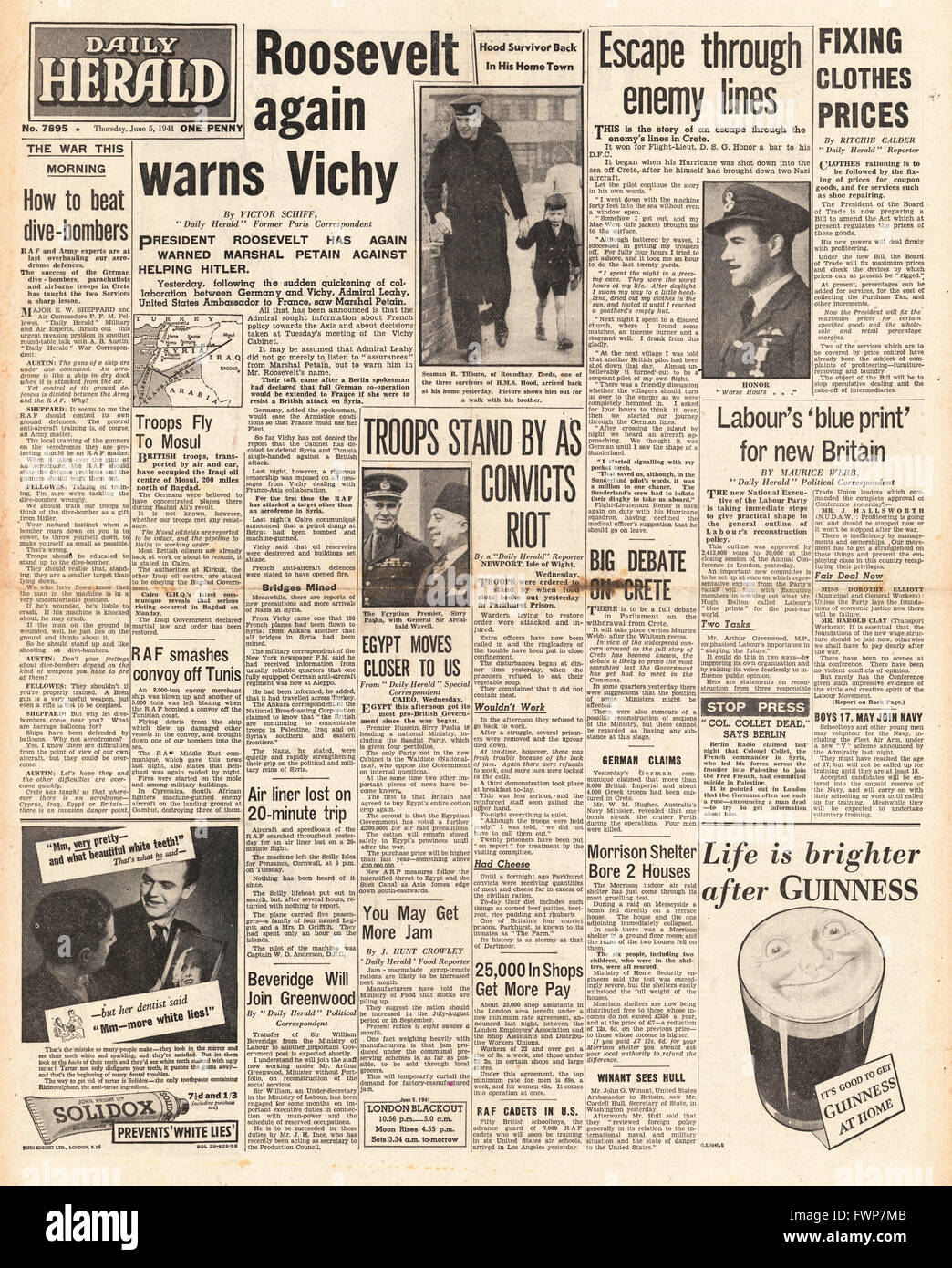 1941 front page  Daily Herald Roosevelt warns Vichy France and riot at Parkhurst Prison, Isle of Wight - Stock Image