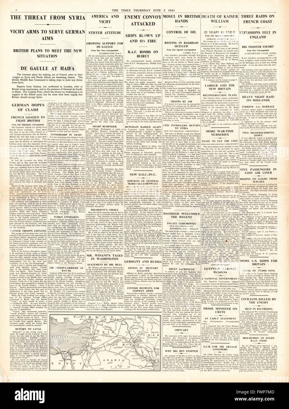 1941 page 4  The Times Threat from Syria, British Forces capture Mosul and RAF raid the French Coast - Stock Image