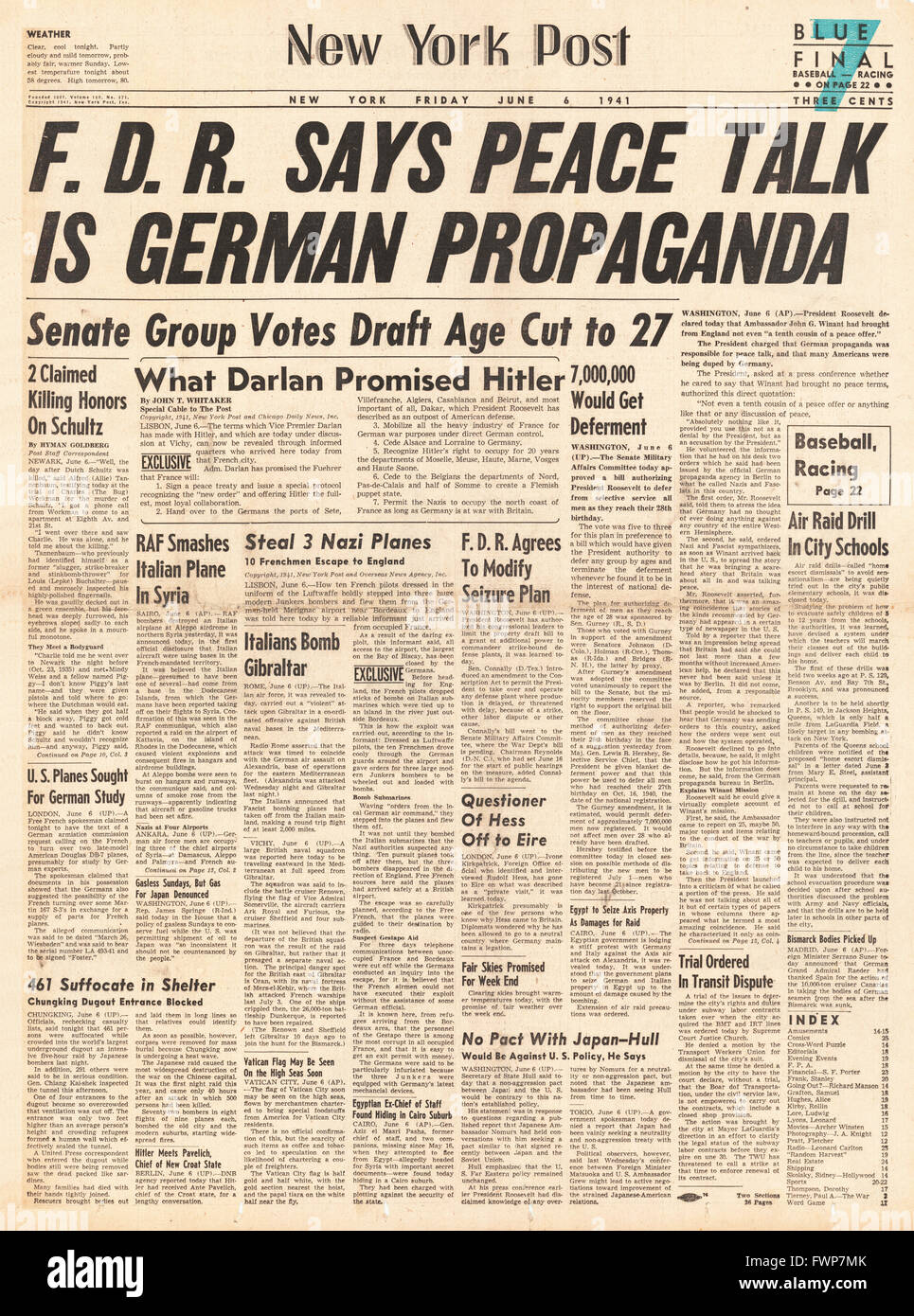 1941 front page  New York Post Roosevelt says peace talk is German Propaganda - Stock Image